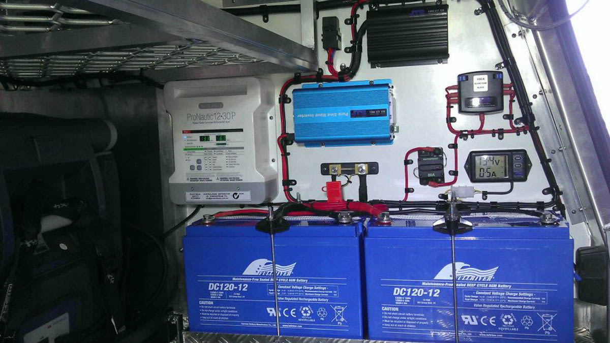 complete install with management system, dual batteries and inverter